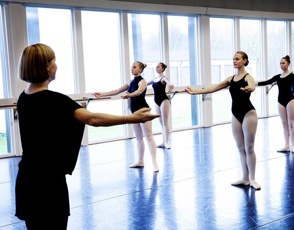 Lærer underviser elever i klassisk ballett